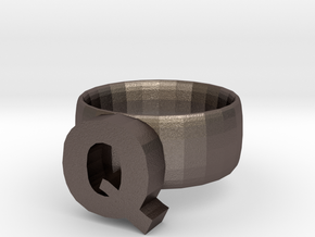 Q Ring in Polished Bronzed Silver Steel