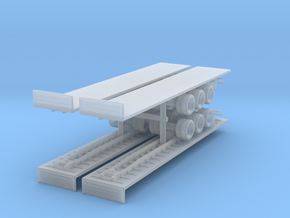 Flatbed Trailer (x4) 1/350 in Smooth Fine Detail Plastic