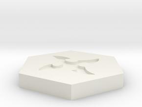 D2 Ninja Shuriken Symbol Logo in White Natural Versatile Plastic