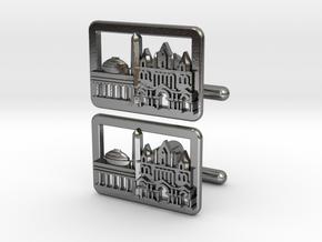 Boston Cityscape Skyline cufflinks in Polished Silver