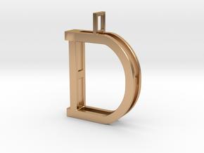 letter D monogram pendant in Polished Bronze