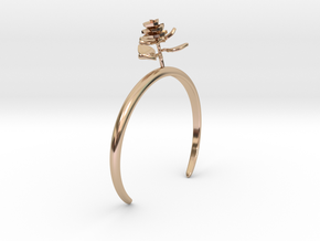 Rose bracelet with one small flower II in 14k Rose Gold Plated Brass: Medium