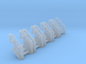 Z Scale Industrial Stairs 3 (5pc) in Smooth Fine Detail Plastic