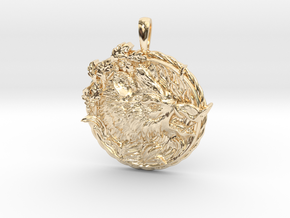 MIGHTY BOAR Symbol Jewelry Pendant in 14k Gold Plated Brass
