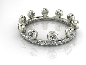 Arty dress ring 3 NO STONES SUPPLIED in Fine Detail Polished Silver