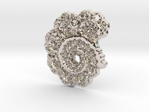 3D Fractal Lace Pendant in Platinum