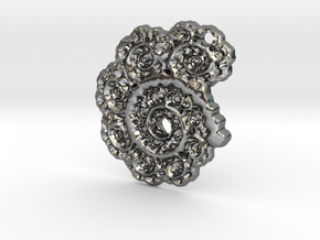 3D Fractal Lace Pendant in Polished Silver
