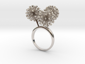 Garlic ring with three small flowers in Rhodium Plated Brass: 7.25 / 54.625