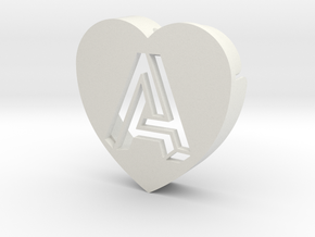 Heart shape DuoLetters print A in White Natural Versatile Plastic