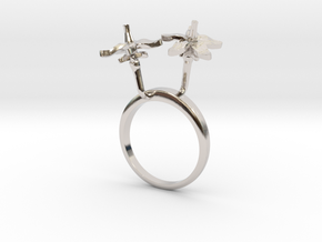 Tomato ring with two small flowers L in Rhodium Plated Brass: 7.25 / 54.625
