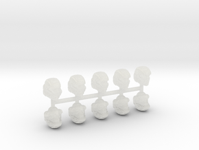 28mm scale shock trooper Heads X10 in Smooth Fine Detail Plastic