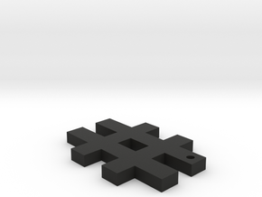 Hashtag Keychain in Black Natural Versatile Plastic