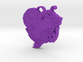 Floral Heart Pendant in Purple Processed Versatile Plastic