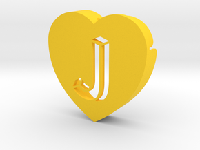Heart shape DuoLetters print J in Yellow Processed Versatile Plastic
