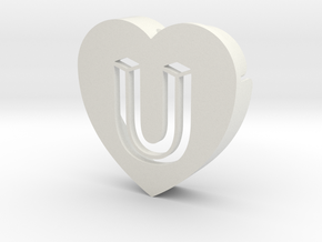 Heart shape DuoLetters print U in White Natural Versatile Plastic