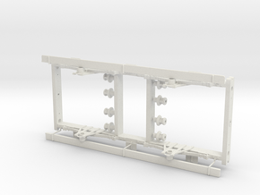 LNWR 3 comp 1st carriage underframe with footboard in White Natural Versatile Plastic