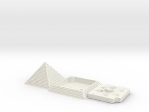 Pyramid Dice Tray Full (Felt Lining) in White Natural Versatile Plastic