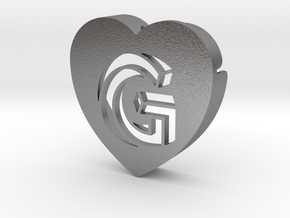 Heart shape DuoLetters print G in Natural Silver