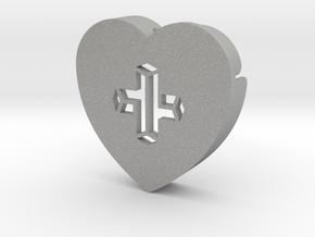 Heart shape DuoLetters print + in Aluminum