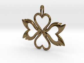 Swan-Heart Pendant in Polished Bronze