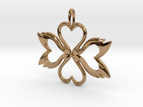 Swan-Heart Pendant in Polished Brass