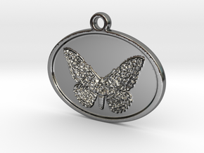 Tropical moth in Fine Detail Polished Silver