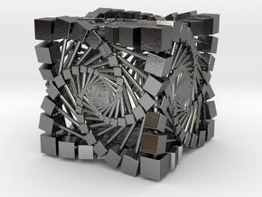 fractal spiral Box in Polished Silver