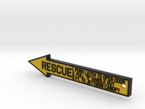4 inch KeyChain RESCUE Black-Yellow Sign in Full Color Sandstone