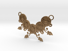 Ornamental Floral Necklace in Natural Brass