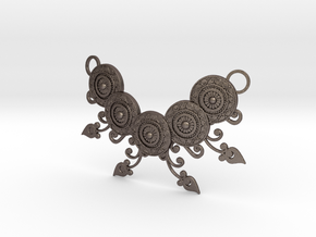 Ornamental Floral Necklace in Polished Bronzed Silver Steel