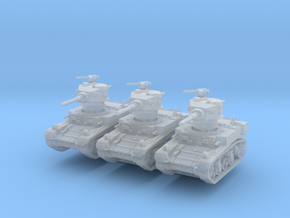 M3A1 Stuart late (x3) 1/285 in Smooth Fine Detail Plastic