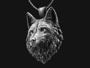 Wolf Pendant Mouth Close in Antique Silver