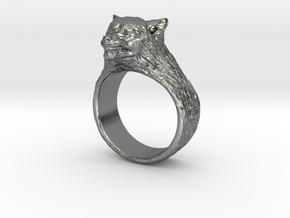 Wolf Ring in Fine Detail Polished Silver
