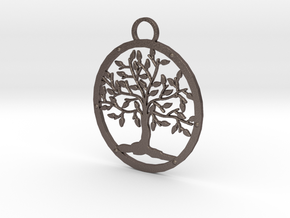 Tree Pendant in Polished Bronzed Silver Steel
