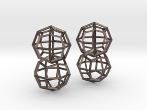 Deltoidal Icositetrahedron Earrings in Polished Bronzed Silver Steel
