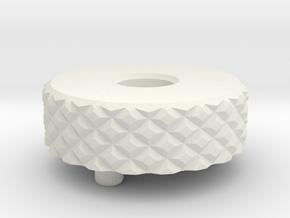 Short Knurl Back Cap .35 inches  in White Natural Versatile Plastic
