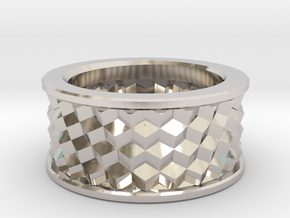 Cubic Ring in Rhodium Plated Brass: 10 / 61.5
