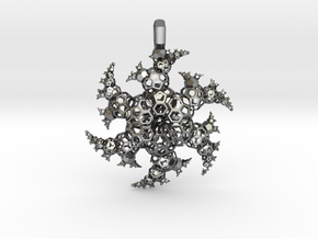 Ninja Star Fractal Pendant v2 in Polished Silver