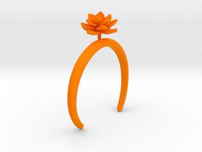 Lotus bracelet with one large flower in Orange Processed Versatile Plastic: Medium