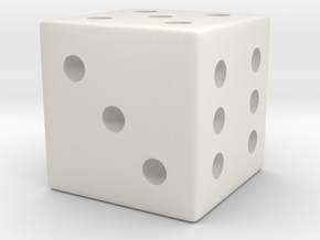 Customizable Loaded/Weighted/Rigged Die/Dice in White Natural Versatile Plastic: Small