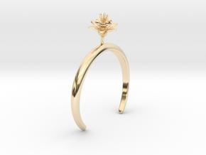 Pomegranate bracelet with one medium flower in 14k Gold Plated Brass: Medium
