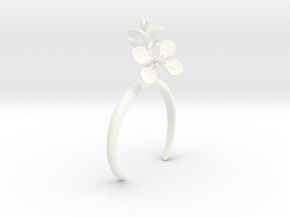Radish bracelet with two large flowers L in White Processed Versatile Plastic: Medium