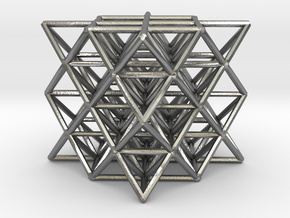 64 Tetrahedron Grid small in Raw Silver