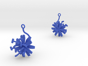Chicory earring with one large flower in Blue Processed Versatile Plastic