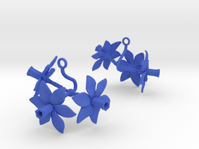Daffodil earring with three large flowers in Blue Processed Versatile Plastic