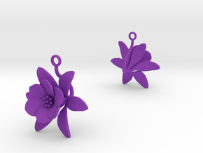 Pomegranate earring with one large flower in Purple Processed Versatile Plastic