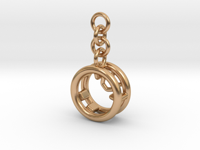Metal Chubby Wheel Pendant for bag in Polished Bronze (Interlocking Parts)