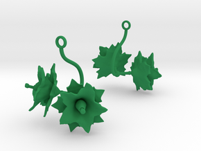 Potato earring with two large flowers in Green Processed Versatile Plastic
