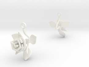 Rose earring with one large flower II in White Processed Versatile Plastic