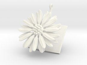 Daisy pendant with one large flower in White Processed Versatile Plastic